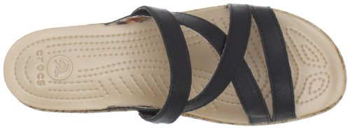 Crocs A-Leigh Mini Wedge Leather, Sandales femme Noir (Noir / Noir)