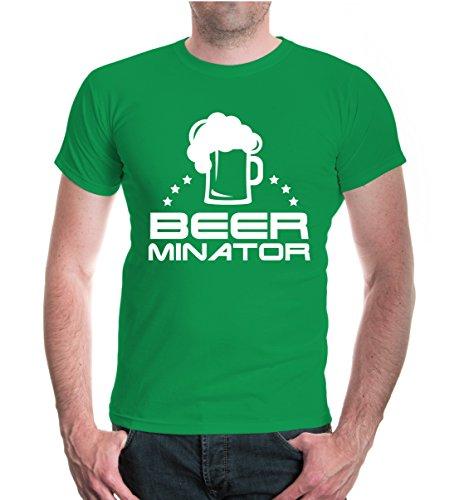 buXsbaum® Herren Unisex Kurzarm T-Shirt Bedruckt Beerminator   Bier Party Spruch Humor   S Kellygreen-White (Terminator Kostüm Männer)