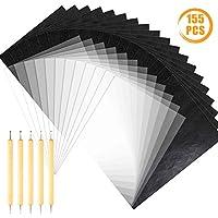 Quacoww 150 hojas A4 de grafito de transferencia de papel de carbono y de calco con 5 piezas de doble extremo lápiz de trazado de herramientas para madera, papel, piedra