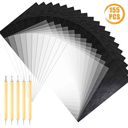 Quacoww 150 Blatt A4 Graphit Transfer Carbon Papier und Transparentpapier mit 5 doppelseitigen Transparentstiften, für Holz, Papier, Stein