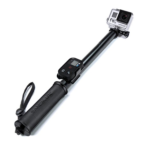 Palo Extensible impermeable (Selfie Stick) y GoPro Hero 4, Session, 3+, 3, 2, and HD Cameras - with Remote Clip...