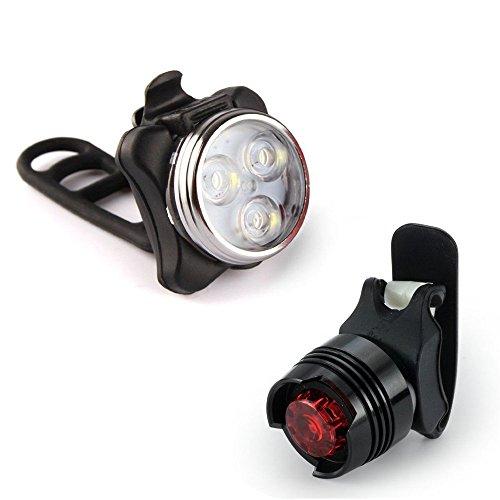 Fahrradscheinwerfer + Fahrradrücklichter,Wiederaufladbare LED Fahrradlampe Fahrradlampe Set, Frontlicht Rücklicht Fahrradlichter Geeignet für alle Fahrräder Trekking und Mountainbiken (Weiß)