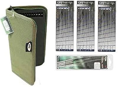 Carp Fishing Rig Wallet/Board And 20 Pins + 18 Hair Rigs + 4 Piece Needle Set by redwood