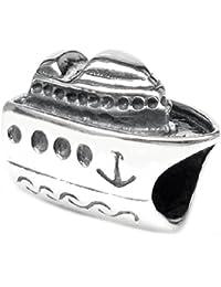 Diseño de madera envejecida Queenberry 925 de plata de ley Holiday Series de barco de vacaciones de viaje para Pandora Biagi Chamilia Troll para pulsera pulseras de seguridad europeo Story
