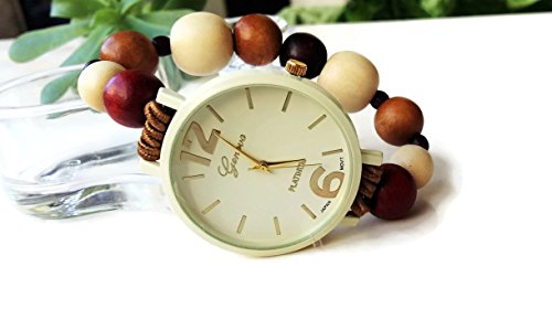 Natural wooden pearl stretch wrist watch bracelet women From husband for wife unique Christmas gift