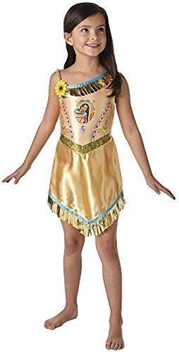 Mädchen Offiziell Disney Prinzessin Pocahontas Indianer Wilder Westen Büchertag Woche Halloween Party Kostüm Kleid Outfit 3-8 jahre - 7-8 years (Pocahontas Halloween)