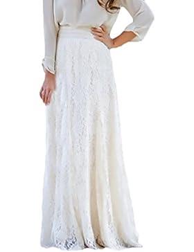 Faldas Mujer Encaje Tallas Grandes Cintura Alta Casual Elegante Falda Larga Ropa Fiesta Moda