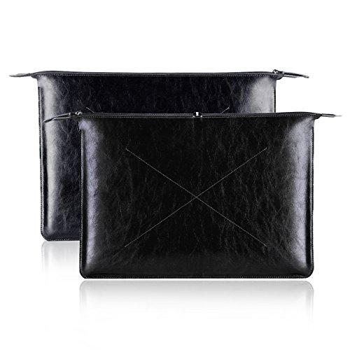 YOCOWOCO 13-13,3 Zoll Leder Laptop-Tasche, Wasserdicht Schutzhülle, Brieftasche, Tasche für 13