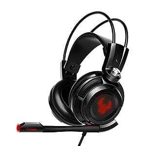 EasyAcc Cuffie Gaming Canale Stereo Suono Surround Virtual 7.1 Over-Ear Headset con Microfono Flessibile, Deep Bass, Switch di vibrazione e Controllo Volume per PC, PS4 - Nero