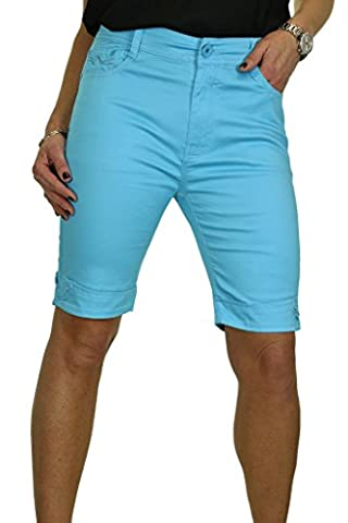 ICE (1513-6) Short en Jeans Style Chino Extensible avec Revers et Strass Turquoise (38)