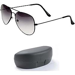 Younky Unisex UV Protected Aviator Stylish Mercury Sunglasses For Men Women Boys & Girls (BlackFrame-HalfBlack 55 Blue) - 1 Sunglass Case
