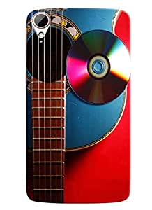 Blue Throat Guitar With Cd Hard Plastic Printed Back Cover/Case For HTC Desire 828