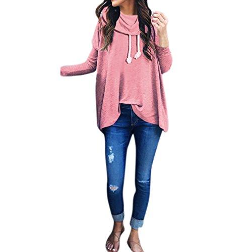 Sannysis Damen Lange Ärmel Kapuzenpulli Frauen Sweatshirt Bogen Hals Langarm Pullover Tops Bluse (XL, rosa)
