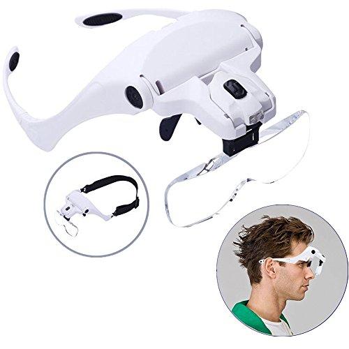 Lupenbrille Kopfbandlupe ALY Lupenbrille mit Licht Kopfband Lupen Lampe Stirnband Brille Lupen Verstellbare für Hobby,Lesen,Elektriker,Juweliere,Nähen,Handwerk,Kosmetik und ältere Menschen-2er LEDs,1.0X, 1.5X, 2.0X, 2.5X, 3.5X (Licht Lampe Lupe)