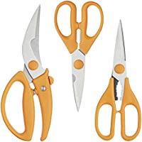 Kitchen Craft MasterClass, Set de 3 Tijeras de Cocina, de Acero Inoxidable y Tijeras para Aves, Color Naranja