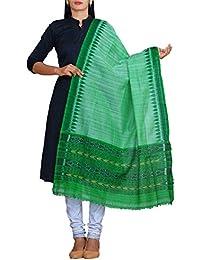 Unnati Silks Women Grey Pure Handloom Ikat Sambalpuri Cotton Dupatta With Weaving And Ikat Woven Ends From The...
