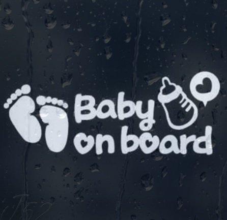 LeSo © Baby on Board Auto Aufkleber Car Sticker Fussabdrücke Flasche Schwarz S035