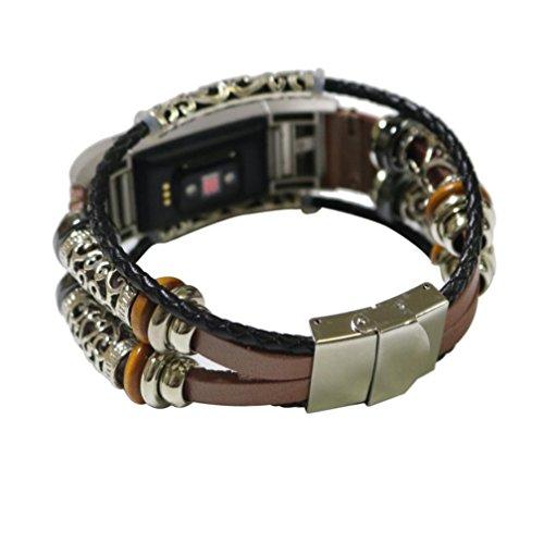 Produktbild BZLine Für Fitbit Charge 2 Band Ledergurte,  Verstellbare Original Classic Ersatz-Armband für Charge 2 Fitness-Zubehör mit Metallsteckern (Roségold)