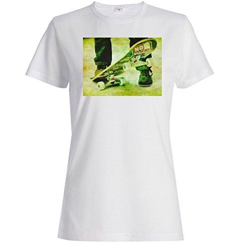 skateboarder retro vintage blurred logo dope Dammen baumwolle t-shirt Weiß