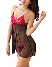 Billebon Combo Heart Pillow Red with Women Baby Doll Nightwear Lingerie with G-String Panty (Free Size)