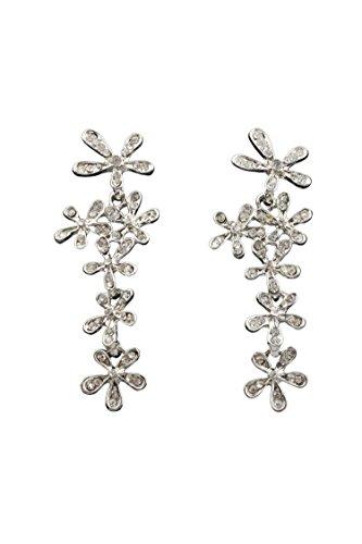 SODIAL(R) a largo lindo Crystal Rhinestone de la flor de la borla cuel