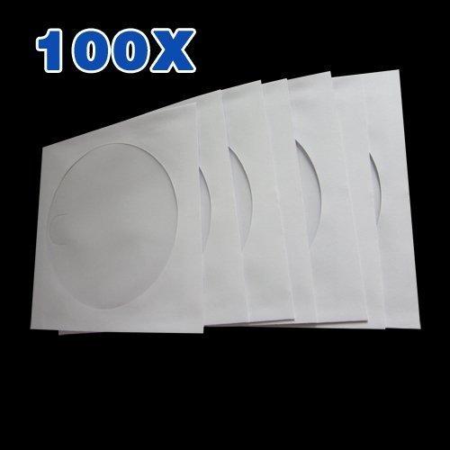Accessotech 100 x CD/DVD Carta Busta Copertine Portafoglio Custodia Cover con plastica Trasparente Windows