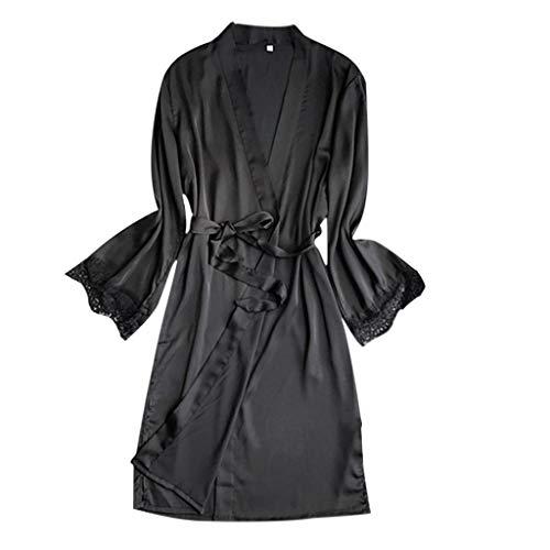 Amphia - Damen Silk Pyjamas - Unterwäsche - Sexy Nachthemd - Frauen Sexy Satin Silk Nachtwäsche Pyjamas Nachthemd Dessous Nachtkleid