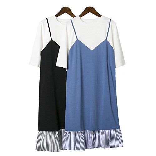 OME&QIUMEI T-Shirt Épissage, Deux Coutures Couleur T-Shirt T-Shirt T-Shirt black