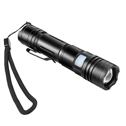 Zwini LED-Taschenlampe, wiederaufladbar, verstellbarer Fokus, 800 Lumen, zoombar und wasserdicht, Taschenlampe für Zuhause und Outdoor-Aktivitäten -