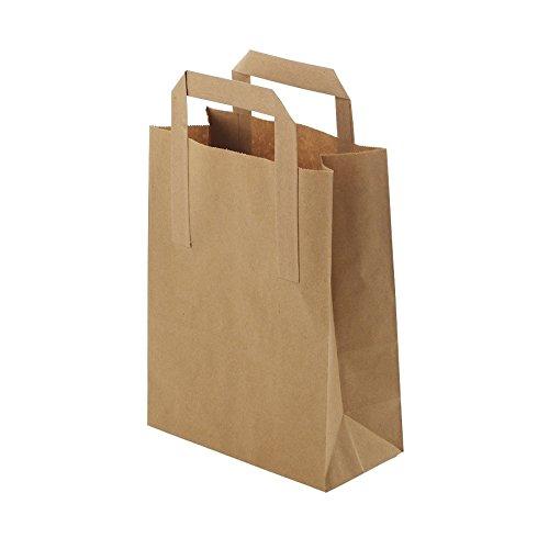 Umweltschonende Papier Tragetaschen groß von Kaufdichgrün I Papiertüten Geschenktüten Papiertragetaschen biologisch abbaubar, kompostierbar I 250 x braune Papier Tüten 25,5 x 12,5 x 30,5 cm (Papier-tragetaschen Groß)