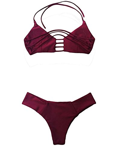 Vandot Damen Sexy Split Badeanzug Swimwear Bikini Push Up Bandeau Neckholder Brustpolste Cups Strand Bademode Swimsuit Tankini Beachwer High Waist Hohe Taille Shorts Oberteil Tops und Bottoms Set