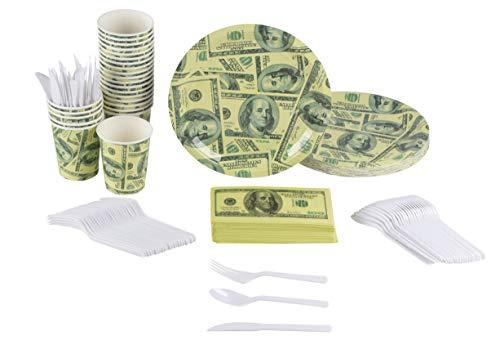 Juvale Einweg-Party-Geschirr - $ 100 Dollar-Schein Geschirr Set Party Supplies - Pappteller, Becher, Servietten, Kunststoff-Besteck Besteck Messer, Löffel und Gabeln - Aufschläge 24