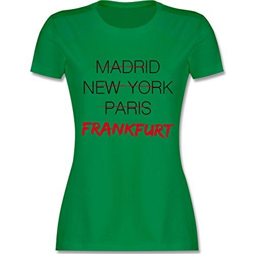 Shirtracer Städte - Weltstadt Frankfurt - Damen T-Shirt Rundhals Grün