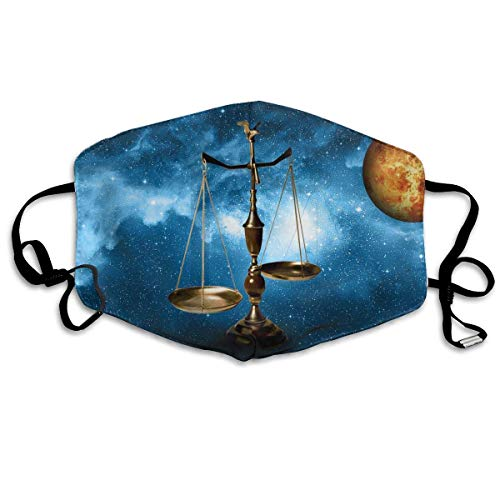 Superheld Kostüm Mädchen Muster - Daawqee Mund Maske, Gesichtsmaske Libra Zodiac Print Reusable Washable Earloop Face Mouth Mask for Men Women