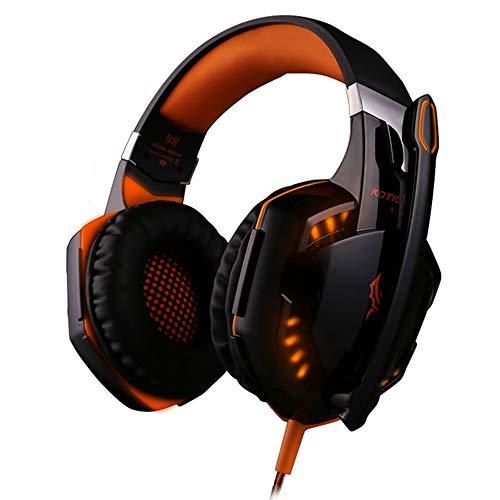 Computer Gaming Kopfhörer Beste Stereo Casque Deep Bass Spiel Kopfhörer Headset Mit Mic LED Hintergrundbeleuchtung,Orange