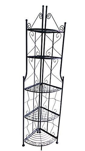 TrendLine Metall-Eckregal schwarz 35 x 35 x 178 cm 5 Böden Gartenregal Metallregal