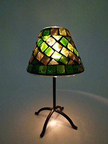 Dapo Mosaik-Teelichthalter Pilz Windlicht Metall + Schirm Mosaikglas H16cm Tischdekoration Dekoration (Grün-Gold) -