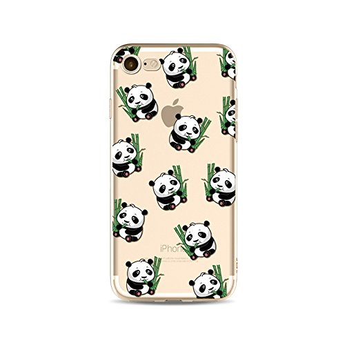 "CoqueiPhone 7 Plus Etui Housse,BoomTeck Coque Pour 5.5"" Apple iPhone 7 Plus Silicone Souple Transparente Motif Clear Ultra Mince Anti Choc Anti-rayures Gel TPU Etui Protection Bumper Case Panda Migno 04"