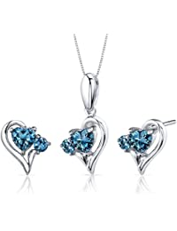 Revoni Love and Beauty 2.25 carats Heart Shape Sterling Silver with Rhodium Finish London Blue Topaz Pendant Earrings Set