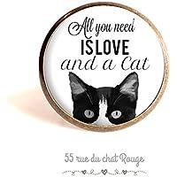 Anello cabochon 25 mm chat, tutto ciò che è amore e un gatto, in bianco e nero