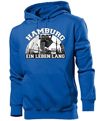 love-all-my-shirts Hamburg Fussball Motive zum auswählen Fanshirt Fan Artikel Männer Herren Tshirt Kapuzen Pullover Hoodie Pulli Tasse Kaffee Becher, Hoodie Blau 1887, XL