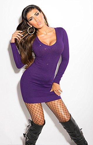 Koucla robe courte sexy en tricot avec strass koucla by in-stylefashion sKU 0000ISF8004 Violet - Lilas
