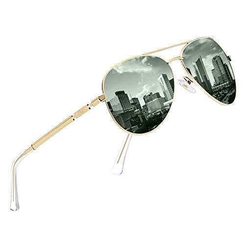 DUCO Coole Fliegerbrille Sonnenbrille Klassische Unisex Pilotenbrille UV400 Filterkategorie 3 CE 3025K (Gestell: Gold, Gläser: Grün)