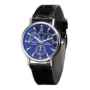 Herren Uhren Blau Strahl Glas Sehen Quarz Luxus Mode Kunstleder Geschäfts Armbanduhr Uhr für Ehemann Groveerble