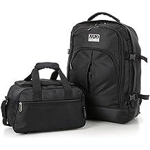 Ryanair 55x40x20 cm Cabina Máxima Asignación Mochila y 35x20x20cm segunda bolsa de equipaje de mano - Tome tanto de manera gratuita! (+ Negro Negro)