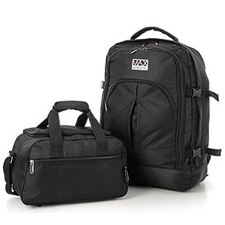 Ryanair 55x40x20 cm Cabina Máxima Asignación Mochila y 35x20x20cm segunda bolsa de equipaje de mano – Tome tanto de manera gratuita! (+ Negro Negro)