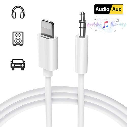 DAEETO Auto AUX Kabel für iPhone zu 3,5 mm Auto AUX-Kabel Kopfhörer-Adapter kompatibel für iPhone XS/XS Max/X / 8/8 Plus / 7 / 7Plus iPod iPad,Kopfhörer, Stereo,Lautsprecher (Weiß-1m) Ipod Auto-aux-kabel