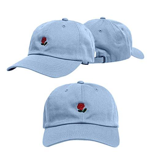 URSING Unisex Rose Stickerei weich Baumwolle Baseballmütze Snapback Hip Hop Flachen Hut Atmungsaktiv Baseball Caps Retro Sport Mütze Sommer Kappe für Jungen Mädchen (Hellblau)