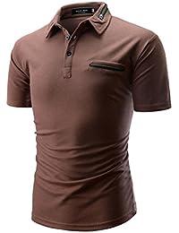 Cinnamou Polos de Hombre de Moda Manga Corta con Cuello de Solapa de  Botones y Cremallera Camiseta de Hombre Manga Corta de… 8a5fb8a7b8711