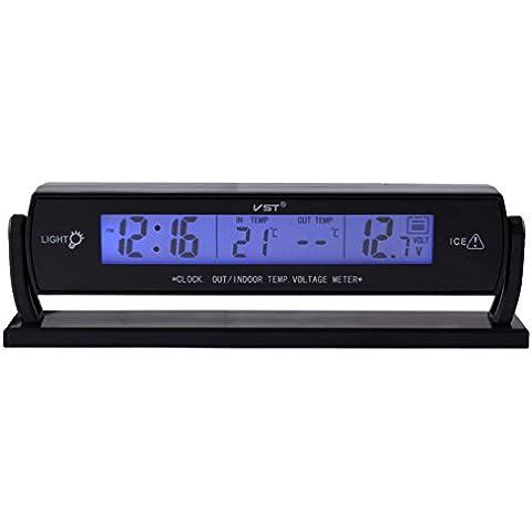 KingMas® VST coche reloj digital, Out/uso en interiores temperatura termómetro, medidor de voltaje